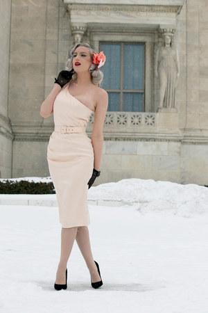 black velvet unique vintage pumps - peach one shoulder Pinup Girl Clothing dress