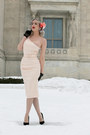 Peach-one-shoulder-pinup-girl-clothing-dress-black-velvet-unique-vintage-pumps