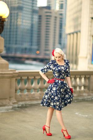 navy floral Mikarose dress - ruby red bow bow belt belt