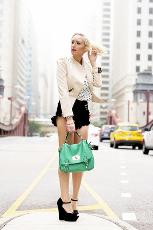 neutral studded Lulus blazer - white OASAP shirt - green Lulus bag