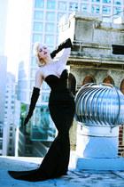 black mermaid Wheels and Dollbaby dress - black leather Prada gloves