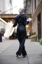 ivory pillbox White Purls hat - black jumpsuit Le Palais Vintage jumper
