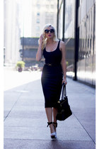 black Olivia  Joy bag - black kate spade sunglasses - black Lulus heels