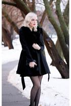 black faux fur Lulus coat - black clutch OASAP bag