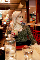 black hm old skirt - tan leopard print old cardigan