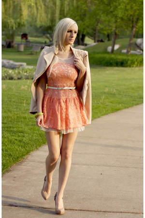 tan Lulus blazer - light orange The Mint Tulip dress