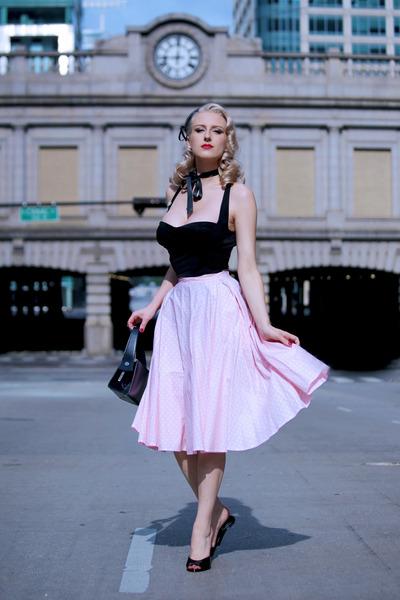 black box old bag - black Doll Me Up top - pink midi Miss Candyfloss skirt