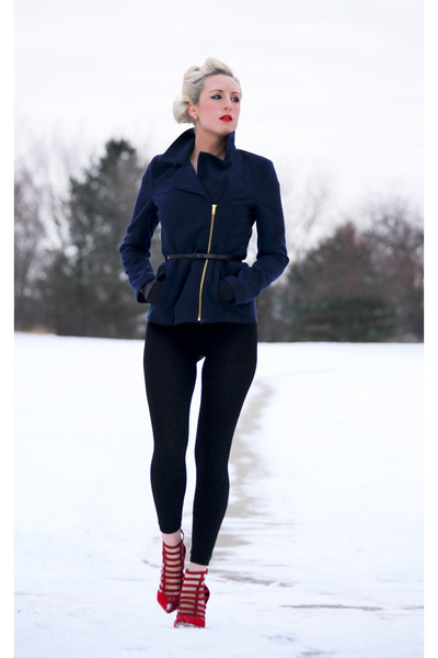 navy Charlotte Russe coat - black winter OASAP leggings