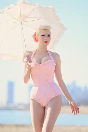 peach striped unique vintage swimwear