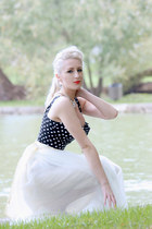 white crystal Lorraine Tyne accessories - navy bustier romwe top