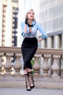 Light-blue-cardigan-dita-von-teese-sweater-black-pencil-skirt-h-m-skirt