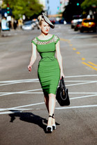 striped OASAP hat - green pencil Tatyana Boutique dress