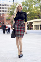 brick red plaid old skirt - black button down H&M shirt