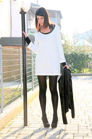 white viscose ChiccaStyle dress - black sequined no brand blazer - black Calzedo