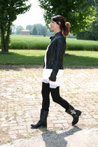 black biker boots boots - black leather biker jacket jacket - black cotton unite