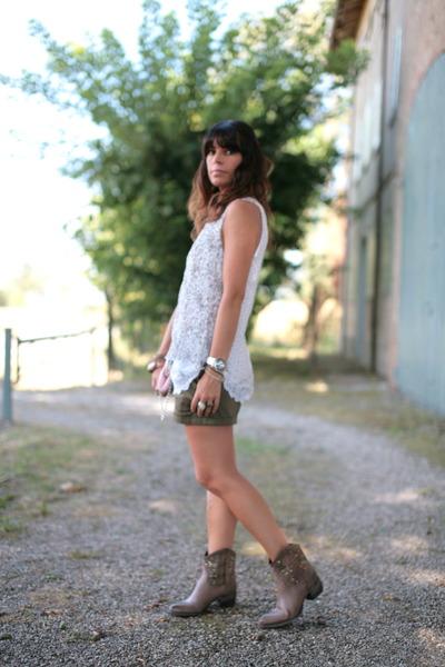 light brown no brand boots - light pink vintage bag - olive green H&M shorts