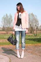 peach no brand shoes - peach vintage blazer - peach Calzedonia socks - black Chi