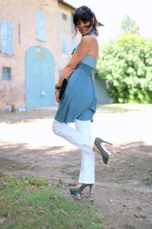 sky blue vintage dress no brand dress - sky blue cinti shoes
