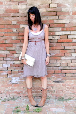 brown no brand boots - light brown Kookai dress - ivory vintage bag