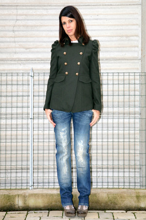 army green wool jacket thrifted vintage coat - blue vintage style dondup jeans -