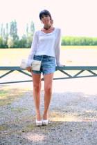 sky blue DIY shorts - ivory no brand shoes - ivory vintage bag