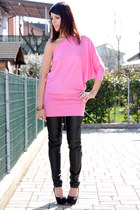 black cinti shoes - black no brand pants - bubble gum ChiccaStyle top