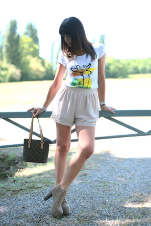 tan Jeffrey Campbell shoes - brown Louis Vuitton bag - peach H&M shorts - white