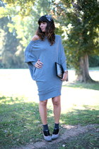 charcoal gray cafè noir shoes - heather gray ChiccaStyle dress