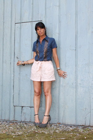blue liujo shirt - light pink H&M shorts - heather gray cinti sandals