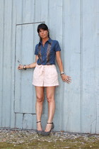 blue liujo shirt - light pink H&M shorts - heather gray cinti sandals