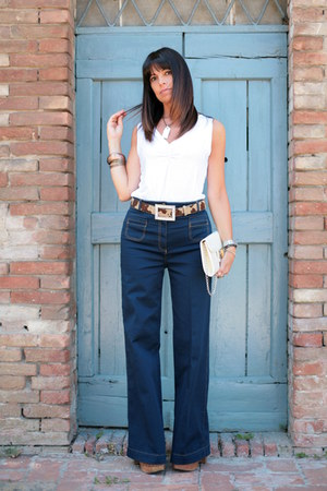 blue H&M pants - ivory vintage bag - white ChiccaStyle top - brown Regina clogs