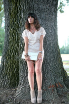 light pink vintage dress - tan Jeffrey Campbell shoes - ivory vintage bag