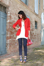 red vintage blazer - red vintage bag - white ChiccaStyle t-shirt - blue oliver s