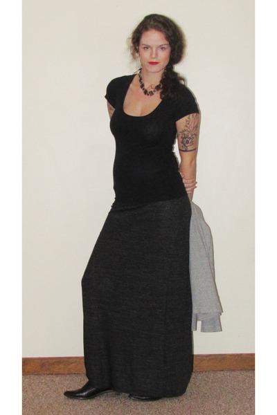 dark gray maxi skirt Kina skirt - black ankle bootss f21 boots