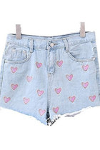 Frayed Edge Denim Shorts with Contrast Heart Embroidery