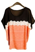 Orange Loose Fit Batwing Sleeve T-shirt with Chiffon and Lace Panel