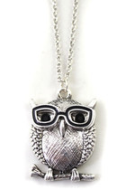 silver-tone owl necklace