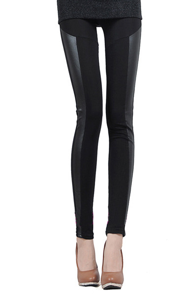 black pu panel leggings