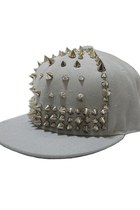 Grey Punk Canvas Cap with Silver Spike Embellishment