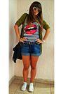 Bata-bag-zara-cardigan-ray-ban-sunglasses-h-m-shorts-new-yorker-t-shirt-