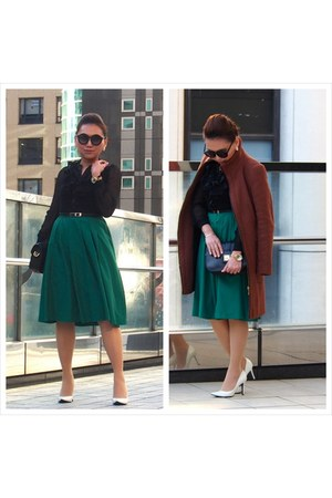 green honeys skirt - dark brown Zara coat - black Celine bag - white diana pumps