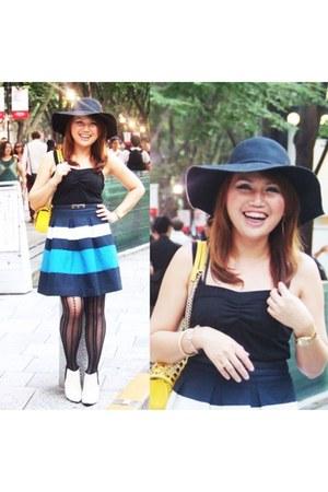 blue clear impression skirt - white esperanza boots - black Tutuanna tights