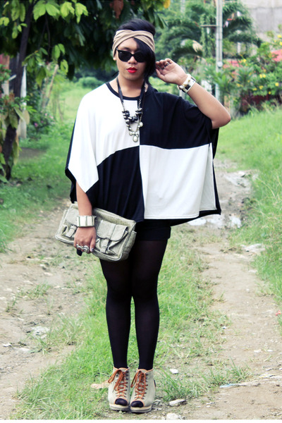 Uniqlo cape - Secosana bag - Parisian wedges - aizilym necklace