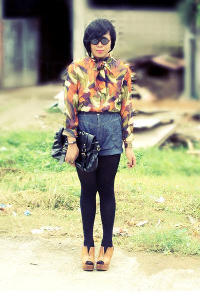 vintage blouse - Parisian bag - DIY shorts - prp clogs