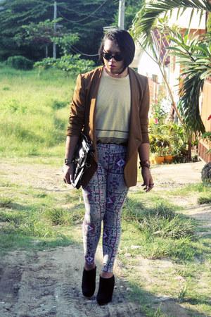 Uniqlo leggings - kensie blazer - Theory shirt - Forever 21 bag