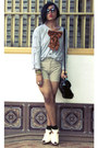 Janeo-shoes-parisian-bag-levis-shorts-robert-verienne-top