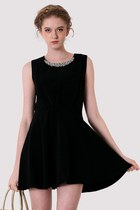 Sequins Collar Skater Dress in Black