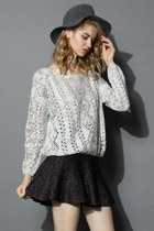 Cappuccino Little Open-gauge Knit Sweater