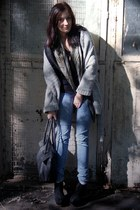 heather gray cardigan - blue jeans - black sweater - forest green scarf