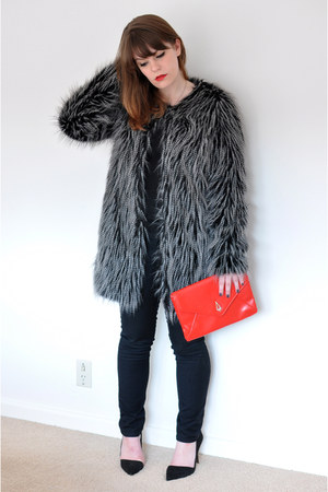 black Zara shoes - black faux fur Country Road jacket - red vintage purse - blac
